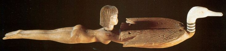 """drakontomalloi: """"Anonymous XVIIIth Dynasty artists - Female Swimmer and a Wild Duck (cosmetic spoons/containers). 1390-1352 B.C. """""""