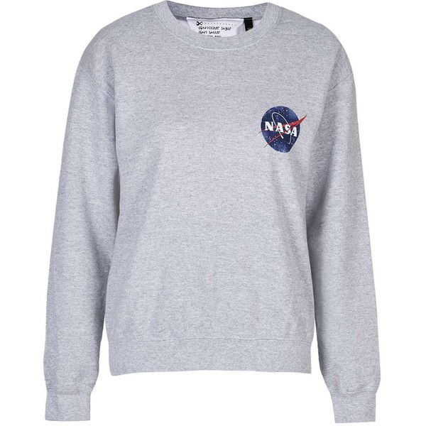 TOPSHOP Nasa Distressed Sweater by Tee & Cake ($48) ❤ liked on Polyvore featuring tops, sweaters, grey, gray top, topshop tops, topshop sweaters, destroyed sweater and topshop
