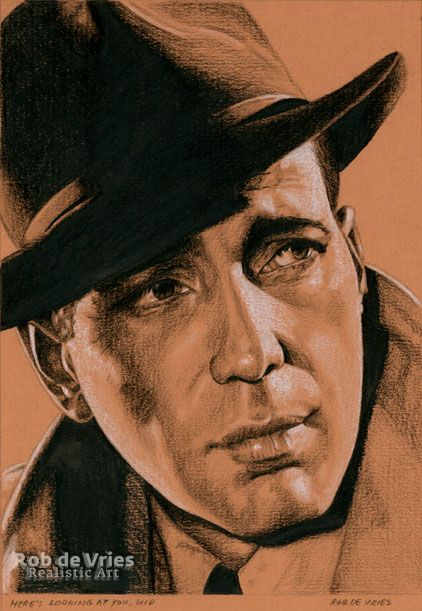 """March 2017, Humphrey Bogart """"Here's looking at you, kid"""" Charcoal, ink and white chalk on colored paper, 21 x 15 cm."""