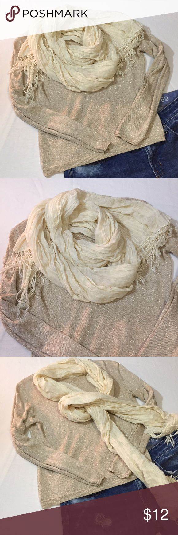 GAP soft cream colored scarf GAP soft cream colored scarf GUC I did remove the label because it was the gap brand tag that was dark navy and you could see when wearing! GAP Accessories Scarves & Wraps