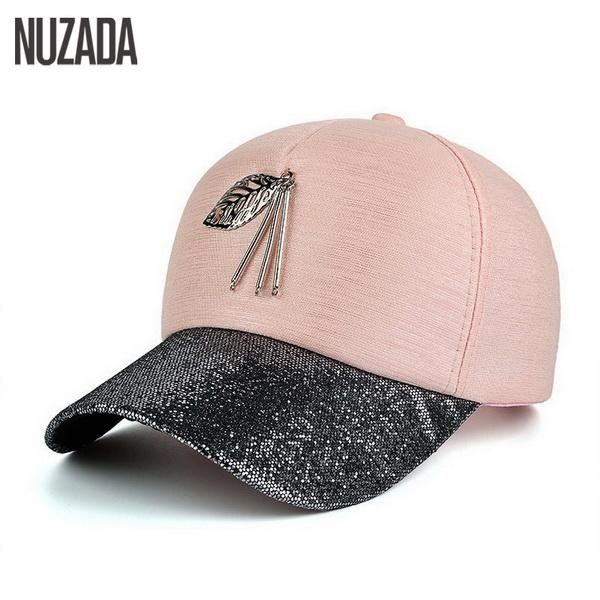 479718289 Brand NUZADA 2017 Spring Summer Autumn Women Men Snapback Baseball Cap Bone  Metal Leaves Hats Hip Hop High Grade Cloth Caps