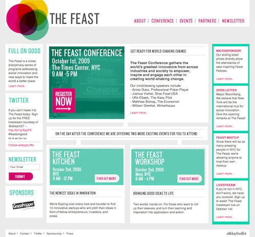A content heavy homepage organized in a very manageable way. The repetition of the seagreen and pink aids in the distinction of the different elements along with the separation using white boxes on a grey background.