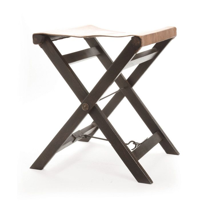 go home folding leather and wood camp stool