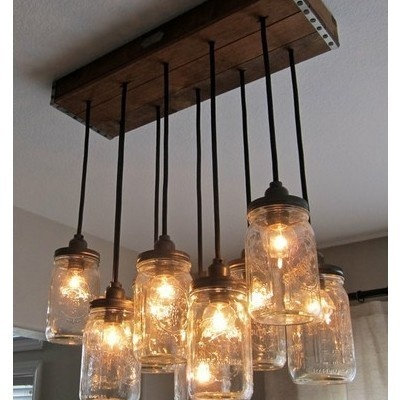 Mason Jar Lamp /Kitchens, Mason Jar Lighting, Ideas, Dining Room, Lights Fixtures, Mason Jars Lights, Jar Lights, Mason Jars Chandeliers, Mason Jar Chandelier