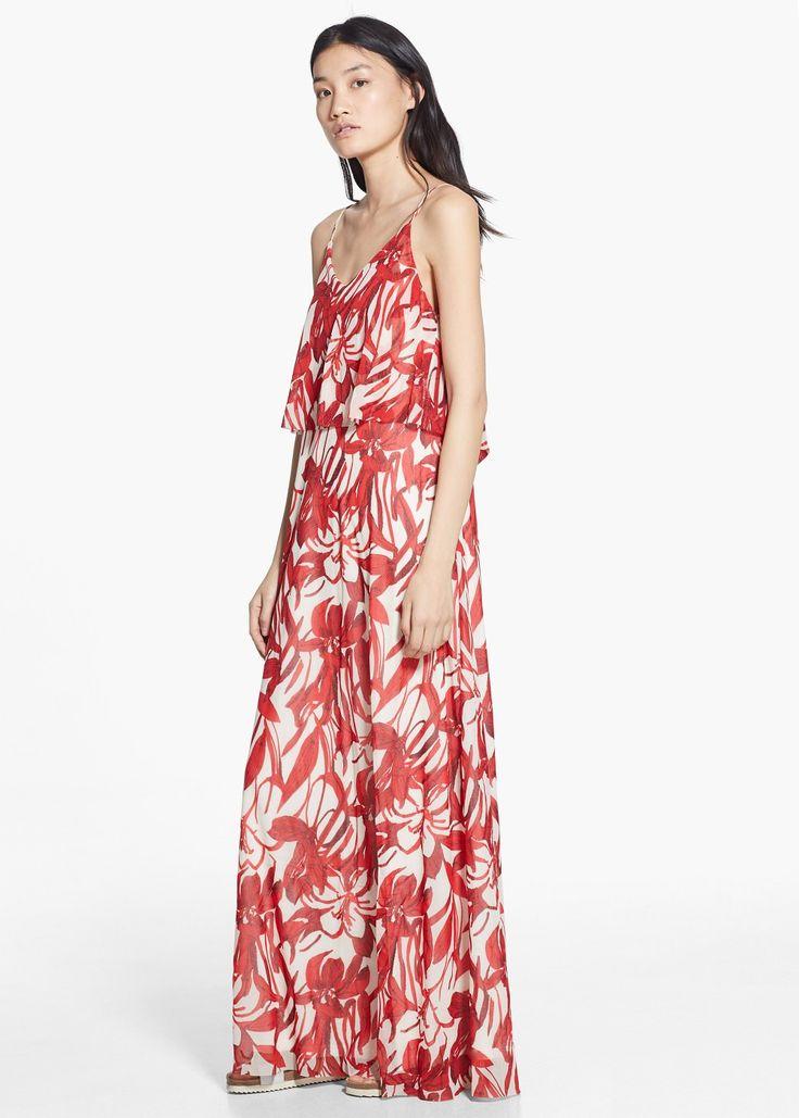 Длинное флоральное платье
