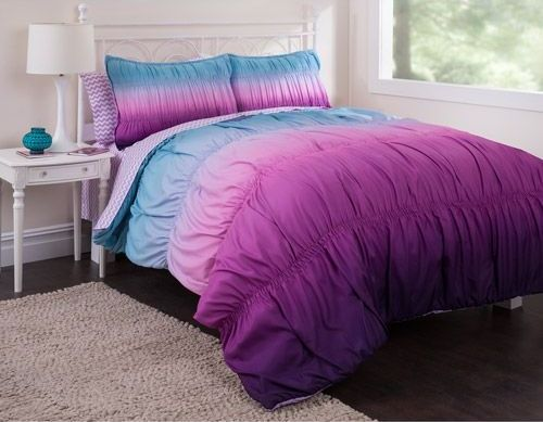 girls purple and teal bedding