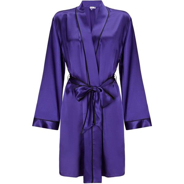 Somerset by Alice Temperley Silk Kimono Robe, Royal Blue ($39) ❤ liked on Polyvore featuring intimates, robes, other, short bathrobe, kimono dressing gown, kimono robe, kimono bathrobe and kimono bath robe
