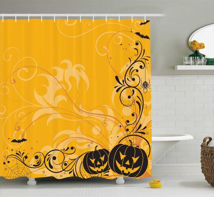 Orange Pumpkins Bats Halloween Shower Curtain