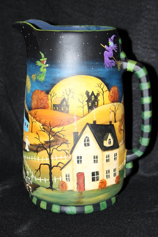 Hand Painted Halloween Vintage Folk Art Pitcher by Ravensbend, $48.00