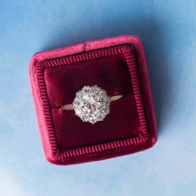Amazing antique Victorian diamond cluster engagement ring