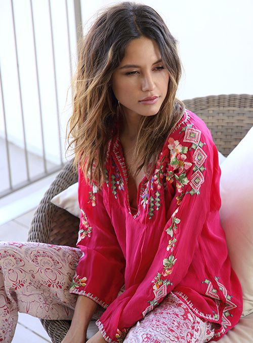 Johnny Was Collection Spring 2015 Lookbook featuring the Vanessa Blouse in Pink Berry Red