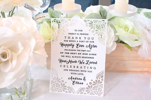 Gorgeous custom cut for Wedding Table Signage