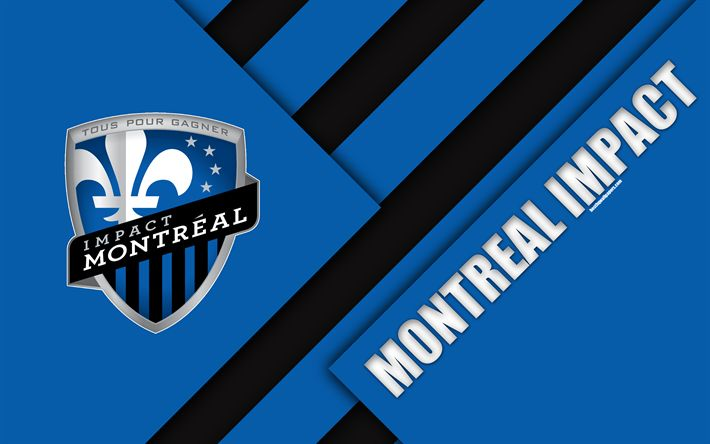Download wallpapers Montreal Impact, Canadian Football Club, Montreal, Quebec, Canada, material design, 4k, logo, blue black abstraction, MLS, football, USA, Major League Soccer