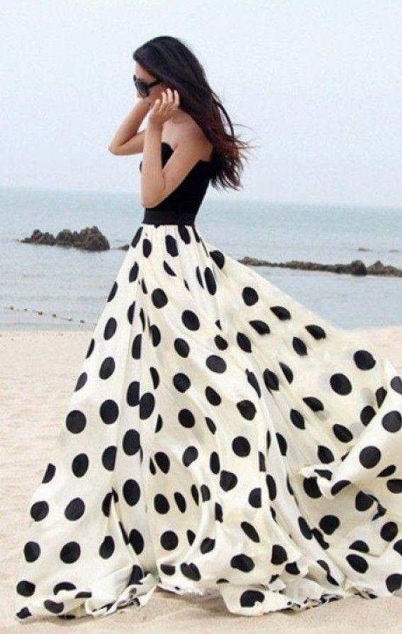 Beautiful black & white polka dot gown!
