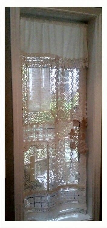 Patchy lace curtain