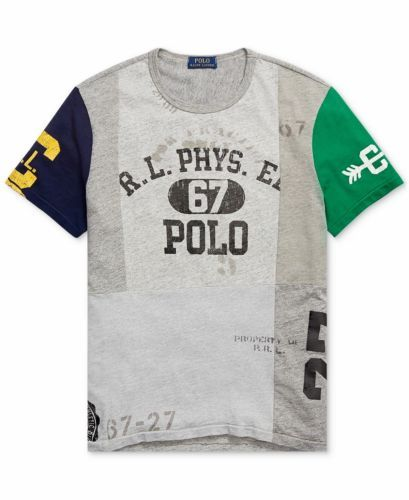3d73a4b596 Polo-Ralph-Lauren-Men-Vintage-Retro-Stadium-Patchwork-Short-Sleeve-T-Shirt -Tee