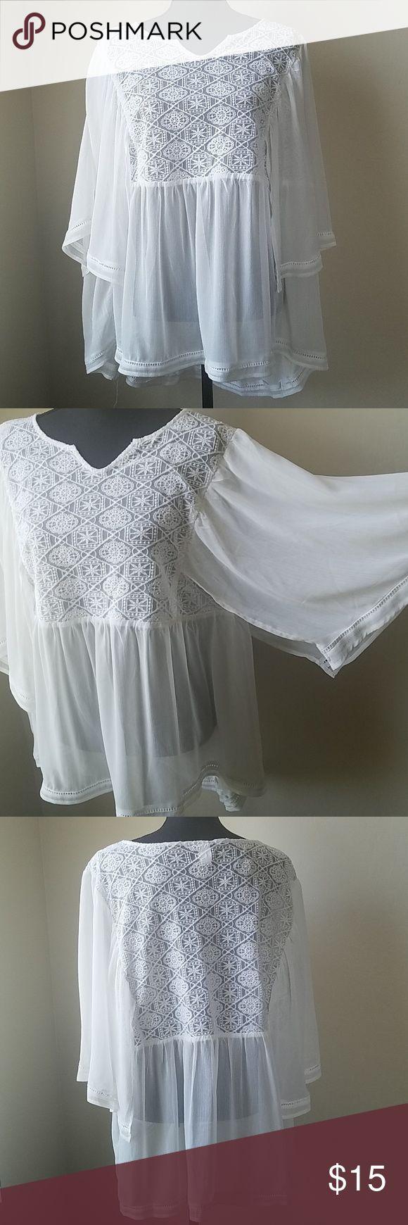 Top White sheer butterfly top, worn 1 torrid Tops Blouses