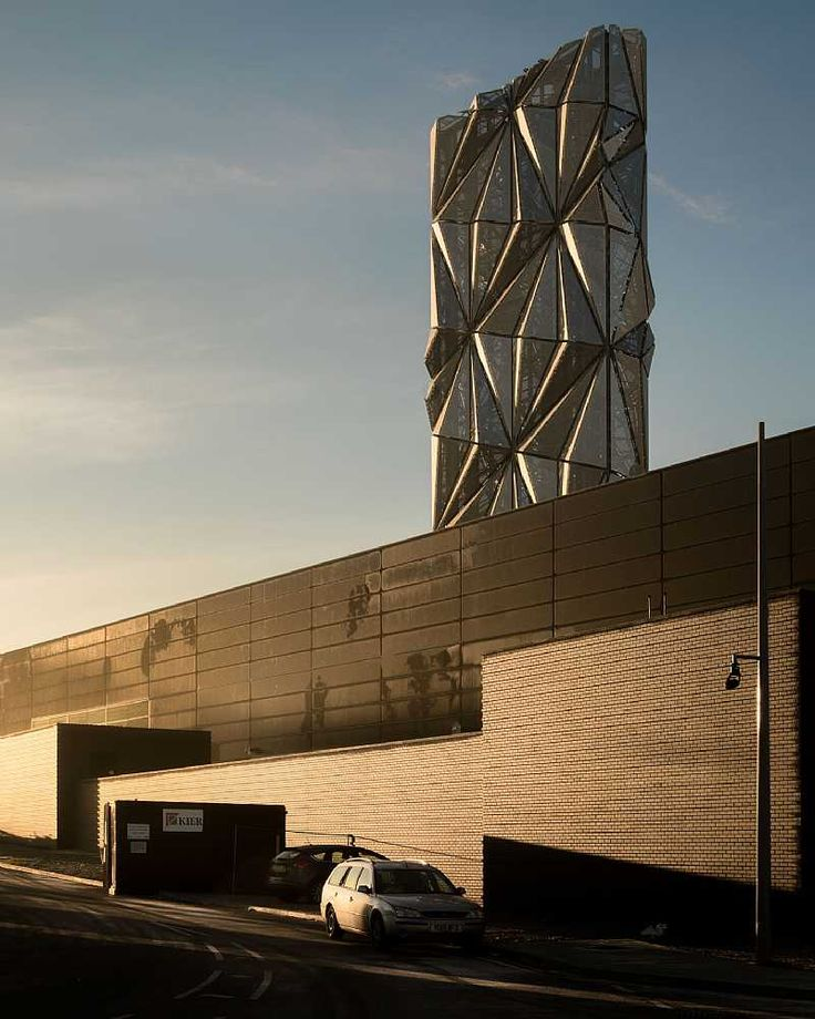 Greenwich Peninsula Low Carbon Energy Centre in London, by C.F. Møller Architects and artist Conrad Shawcross
