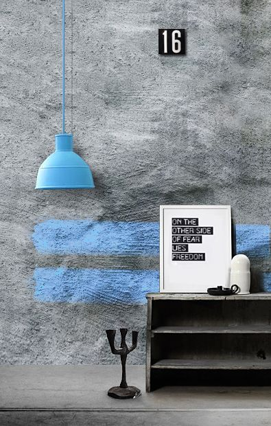 ♂ Contemporary & minimalist home interior design grey wall with a touch of blue