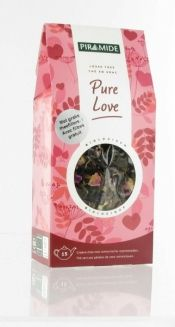 Piramide Pure Love thee. Een liefdevolle thee, van groene thee met romantische rozenblaadjes.