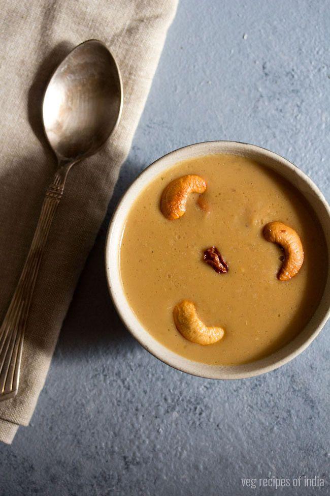 moong dal payasam recipe - delicious creamy moong dal payasam made with yellow moong lentils, jaggery and coconut milk. #payasam #moong dal