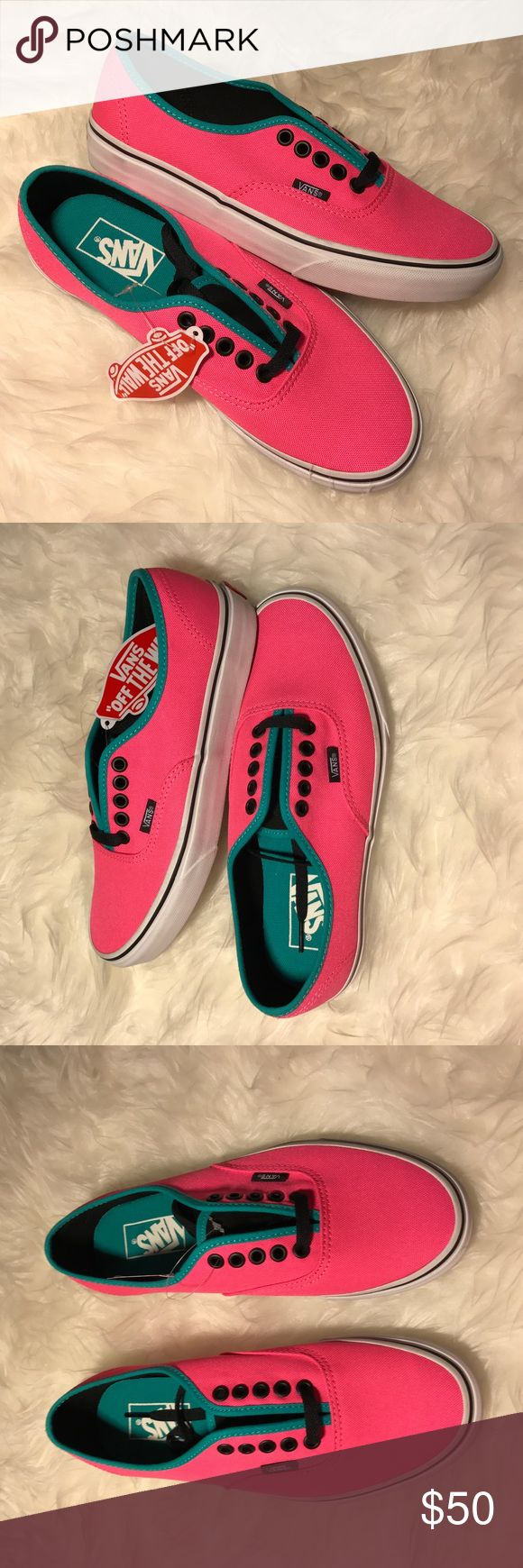 "VANS SIZE 8 NEON PINK, BLACK  & TEAL ""VANS OFF THE WALL NEON PINK & TEAL WOMENS SIZE 8"" 💗NO TRADES💗  -brand new -neon pink with interior-edge teal -Black shoelaces -this also work as a men's/boys 6.5 as shown on the interior tag -rubber soles -iconic shoe -Black eyelets to match the black shoelaces -comes from a smoke/pet free home Vans Shoes Sneakers"
