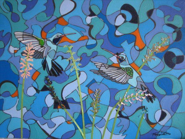 """https://flic.kr/p/yaPiT5   Hummingbirds   """"Hummingbirds"""" Mixed Media on Panel www.websterartgallery.com"""
