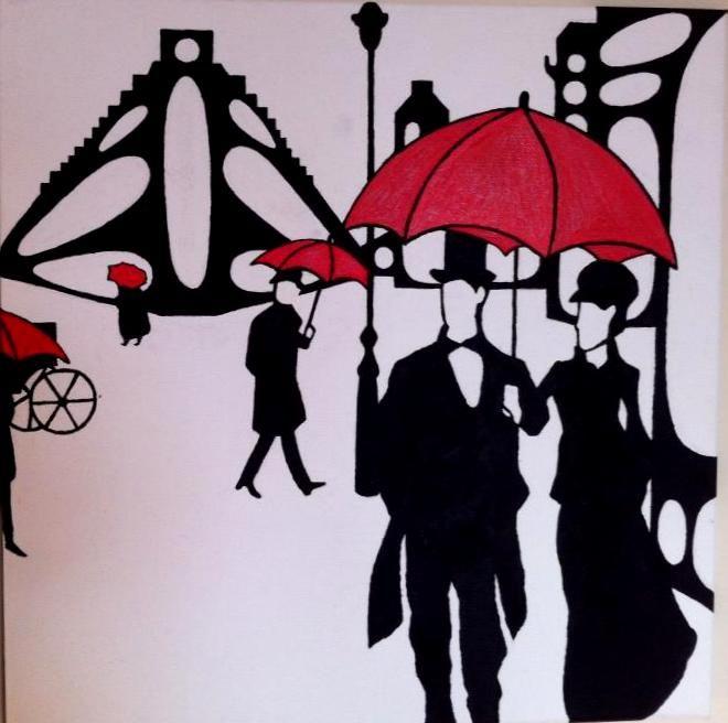 Rainy Paris. 50X50cm. Acrylic on canvas.