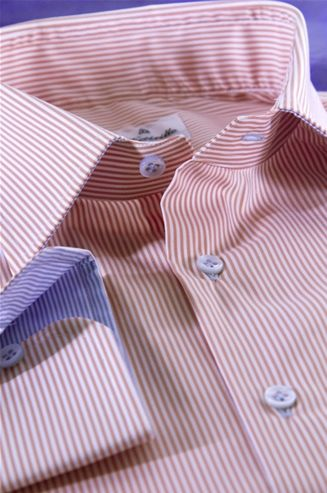 Striped Shirt, Orange and White Color, Fabric Cotton Poplin, Shirt for men, tailored shirt - $136