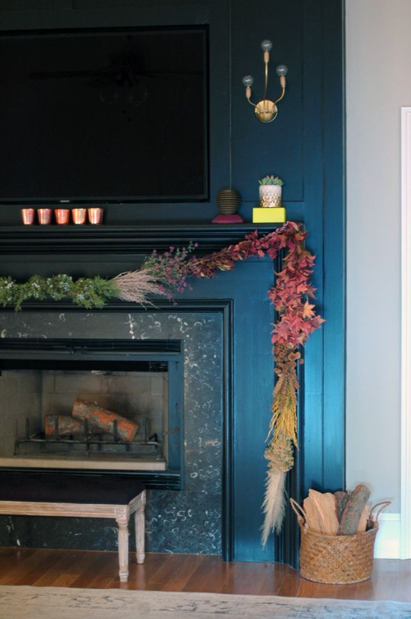 Dark Blue Painted Fireplace Home Decor Pinterest