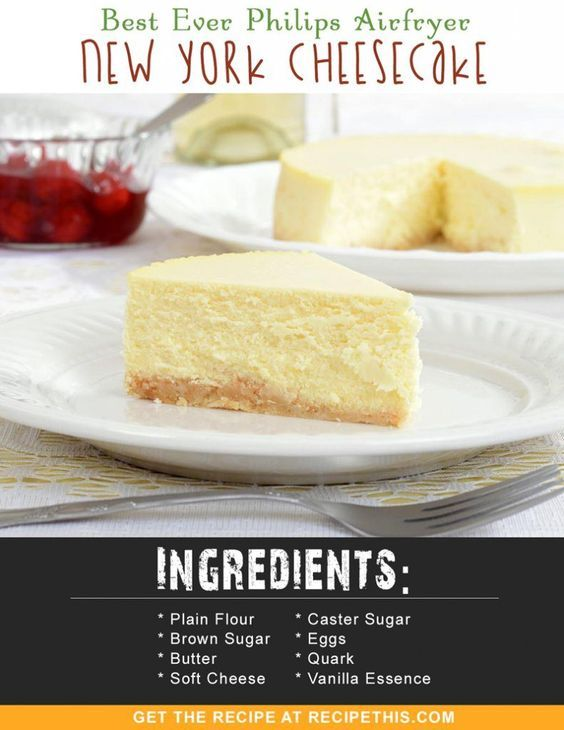 Airfryer Recipes | Best Ever Philips Airfryer New York Cheesecake recipe from RecipeThis.com