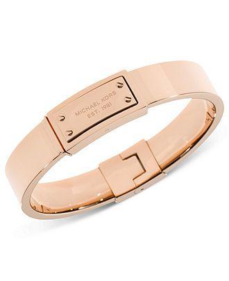 Michael Kors Rose Gold-Tone Logo Plaque Bangle Bracelet - Fashion Bracelets - Jewelry & Watches - Macy's