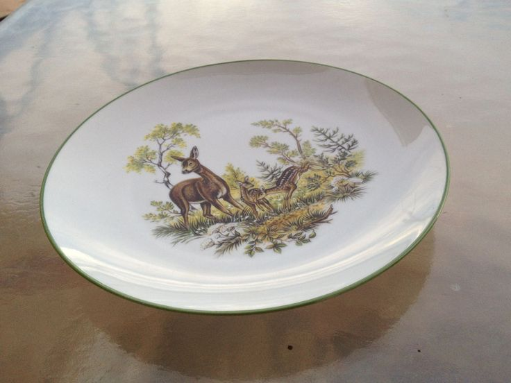 Deer Fawns Plate, Deer Plate, Woodland Plate, Bareuther Waldsassen Plate, Naturalistic Plate, Animals Nature Plate, Forest Scene Plate by WeFindVintage on Etsy