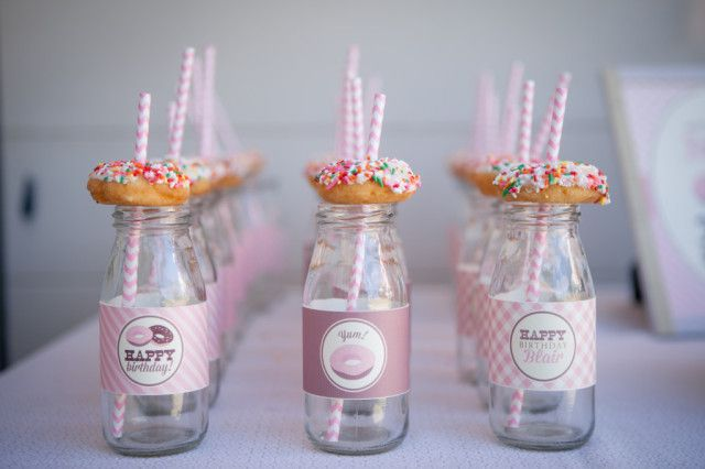 Donut-Themed Birthday Party - what a great #kidsparty theme!Kidsparty Partyideas, Shower Ideas, Birthday Parties, Donuts Them Birthday, Birthdays, Projects Nurseries, Milk Bottle, Parties Ideas, 2Nd Birthday