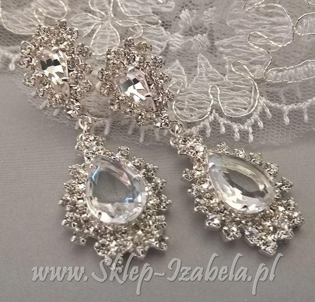 Kolczyki ślubne z kryształkami