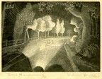 View from Rolls Royce of dark road lined with trees and telegraph poles lit by headlights with a halo effect. 1929 Wood engraving on handmade Japan paper