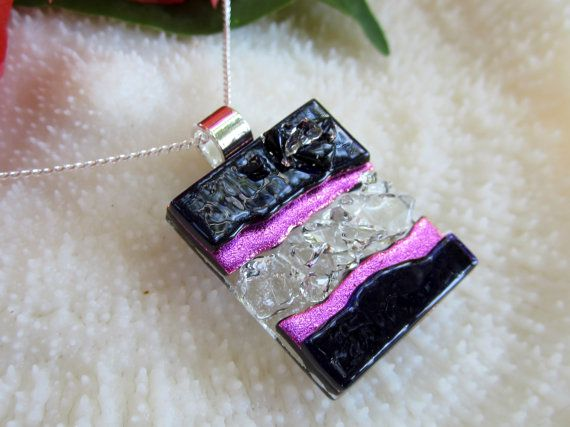 Dark purple and dichroic pink fused glass by FoxWorksStudio