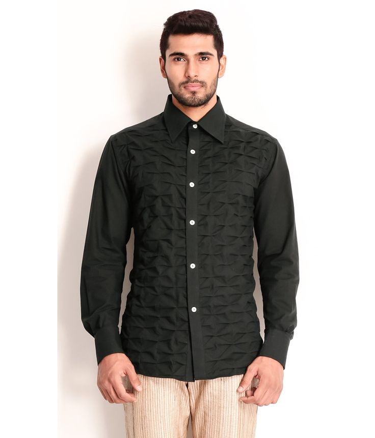 Samant Chauhan Black Cotton Shirt with Layered Textured front, http://www.snapdeal.com/product/designer-wear-black-cotton-shirt/1893201377