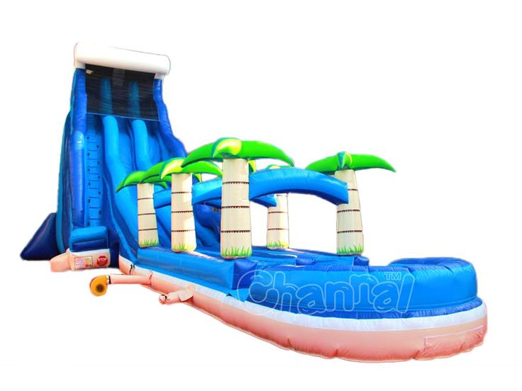 dual lane tropical wave inflatable water slide with slip n slide and pool for sale at