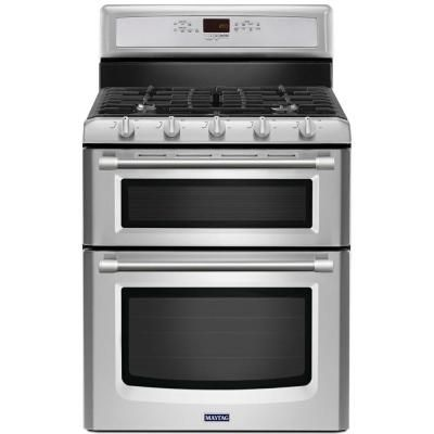 Maytag Gemini 6.0 cu. ft. Double Oven Gas Range with Self-Cleaning Convection Oven in Stainless Steel-MGT8720DS at The Home Depot