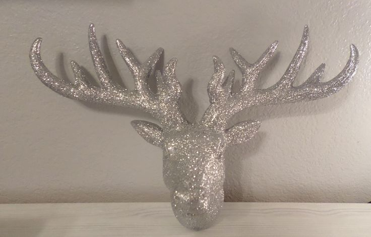 SILVER GLITTER DEER STAG HEAD WALL SCULPTURE FAUX TAXIDERMY HANGING HOME DECOR #Unbranded #FAUXTAXIDERMYSTAGHEADWALLDECOR