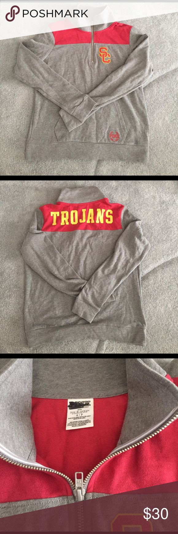 NWOT PINK qtr zip pullover USC Trojans Victoria's Secret pink.  USC Southern California Trojans pullover.  New without tags.  Label marked to prevent store returns.  Pet free smoke free posher.   Bundle and save + only pay one shipping fee!!! PINK Victoria's Secret Tops Sweatshirts & Hoodies