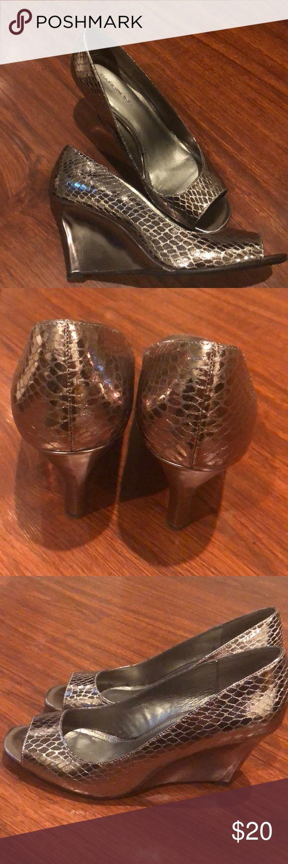 Metallic Wedges Lightly used metallic wedges size 9.5. Bandolino brand. Worn twice Bandolino Shoes Wedges