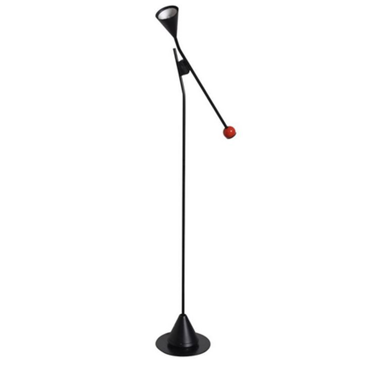 Multifunctional floor lamp by Ernesto Gismondi for Artemide with an adjustable arm that can move in any position from horizontal to vertical, with one shade for atmospheric lighting and the other shade for up-lighting, that can also be used separately from each other.  Wears the manufacturer mark.