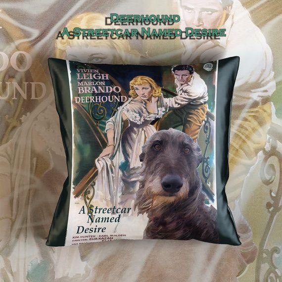 Schotse Deerhound Art kussensloop gooien Pillow - A Streetcar Named Desire filmposter nieuwe collectie door adel honden