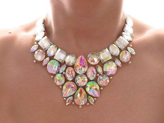 Rhinestone Bib Necklace, Crystal AB, Jeweled Bib, Aurora Borealis, Rhinestone Statement Necklace, Bridal Jewelry, Formal