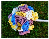 fabric flower bouquet.  Love for a spring wedding or a toss bouquet! How adorable!! Brandy Holland!! This has your name all over it! LOL!: Fabric Flowers, Spring Weddings, Toss Bouquet
