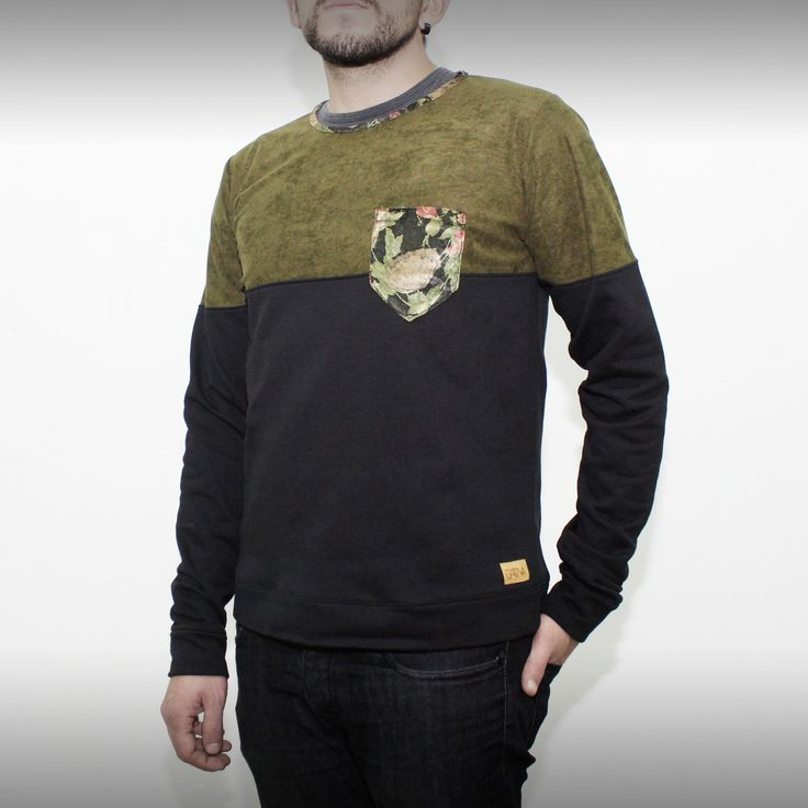 Black and army green sweatshirt with floral inserts. Soon on www.green-fits.com!  #sustainablefashion #crueltyfree #fashion