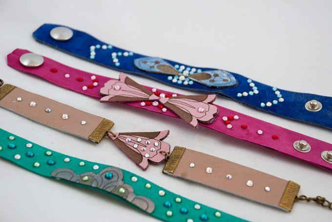 Leather bracelets  #pop #color #leather #crystal #swarovski #pink #ultramarine