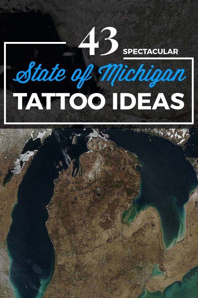State of Michigan Tattoo Designs
